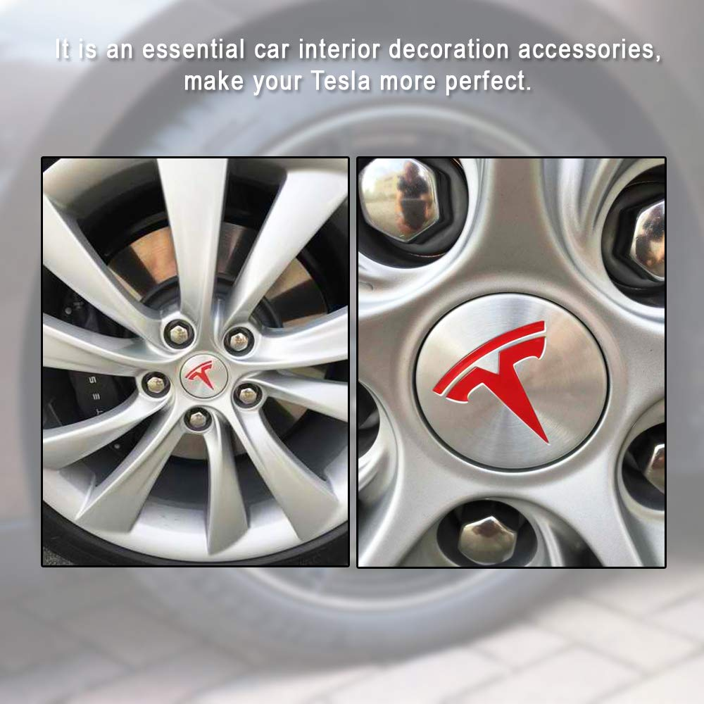 CoolKo Newest Tesla Center Cap Wheel Rim Logo T Emblem Decals Stickers 4 Pieces for Model X and S Red