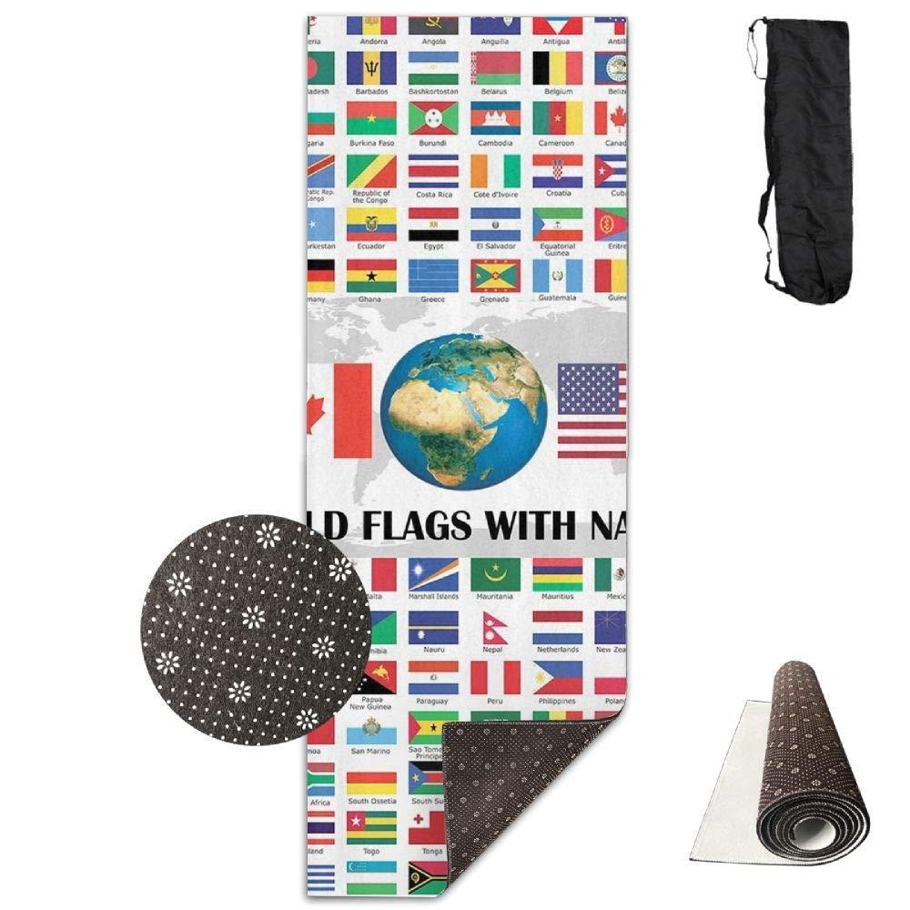 70inch Long 28inch Wide Comfort Velvet Yoga Mat, World Flags Mat Carrying Strap & Bag