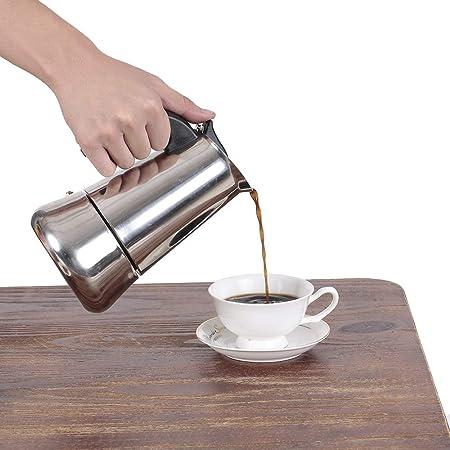Decdeal 2 tazas de 100 ml de Acero Inoxidable Estufa de Café Espresso Percolador Máquina de Café Espresso Olla Estufa Cafetera Superior Cafetera de café Espresso: Amazon.es: Hogar