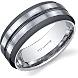 Revoni Two Tone comfort fit Mens 8mm Titanium Wedding Band Ring