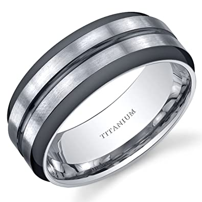 Two Tone comfort fit Mens 8mm Titanium Wedding Band Ring Sizes 8 to