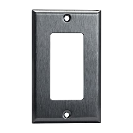 1 Gang Brushed Stainless Steel Outlet Cover Rocker Switch Wall