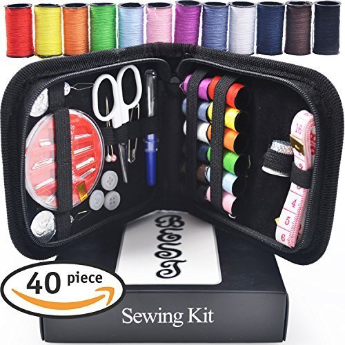 Best Sewing Kit Bundle with  Scissors, Thimble, Thread, Needles, Tape Measure, Carrying Case and Accessories