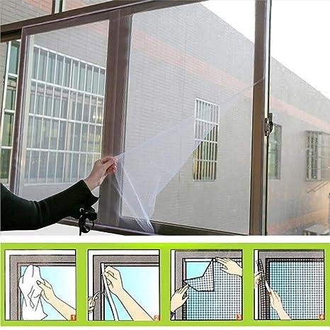 2 Pack 130x150 cm Insektenschutznetz Fliegengitter Mesh Bug Bee Moskito-Schutz mit 2 Rollen Selbstklebeband Wei/ß M/ückennetz Fenster Fliegengitter Fenster