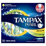 Tampax Pearl Duo Pack (regular/super) Plastic Tampons, Unscented, 34 Count