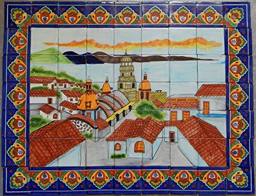 Handmade Art Folk - COLOR Y TRADICIÓN Mexican Talavera Mosaic Mural Tile Handmade Folk Art Ocean View Backsplash # 28