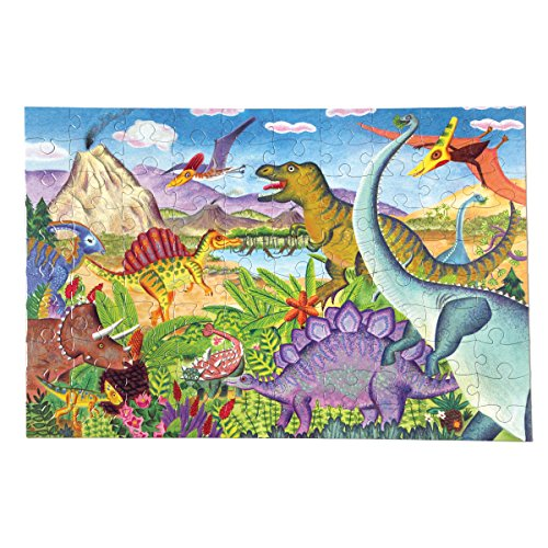 eeBoo Age of the Dinosaur Puzzle for Kids, 100 Pieces by eeBoo