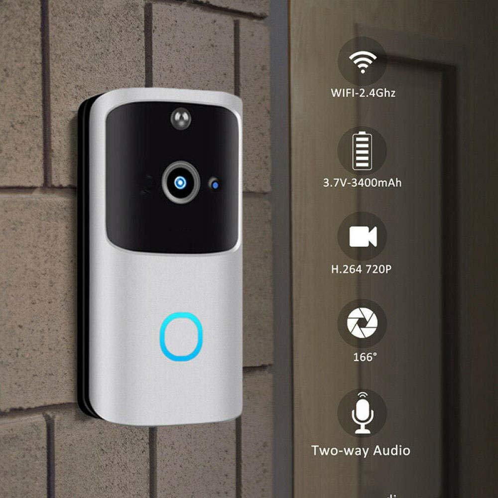 DYWLQ Wir/eless Video-T/ürklingel IP65 Wasserdicht PIR-Bewegungserkennung WiFi Smart Hands-free-T/ürklingel 72P HD Home Security-Kamera-T/ürklingel mit Nachtsicht
