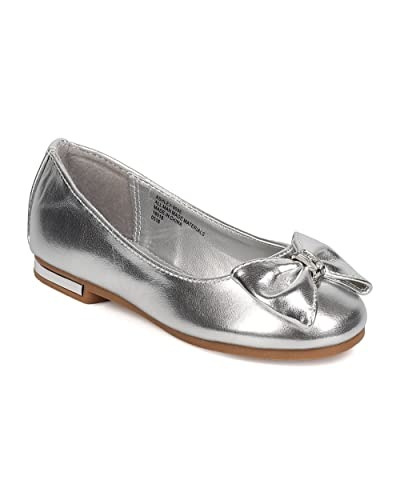 b312246a7687 Metallic Leatherette Bow Tie Ballerina Flat (Toddler Girl Little Girl Big  Girl)
