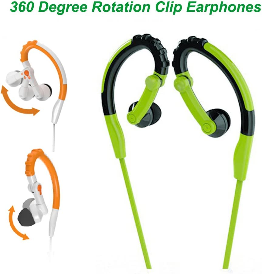 BESIGN New Version SP01 Wired Sweat Proof Earphones Headsets Mp3 Players 3.5mm Stereo Sports Running Earbuds Headphones with Mic and Remote Control for Smart Phones Tablets PC Green