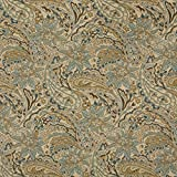 """K0125A Tan, Beige, Brown And Teal Floral And Paisley Woven Solution Dyed Indoor Outdoor Upholstery Fabric By The Meter 