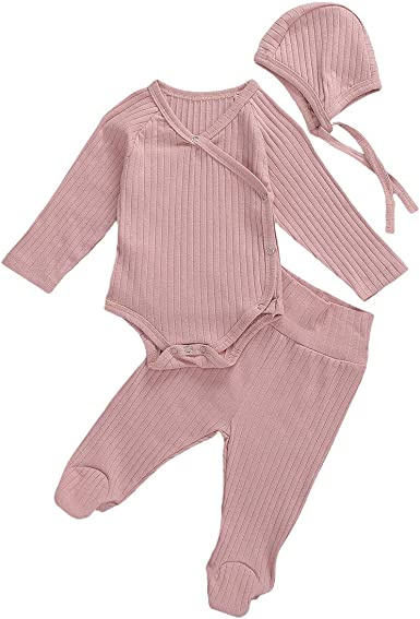 Newborn Baby Boys Girls Pajama Clothes Stripe Long Sleeve Shirt Top Long Pants Fall Winter Outfits Sleepwear 0-18M