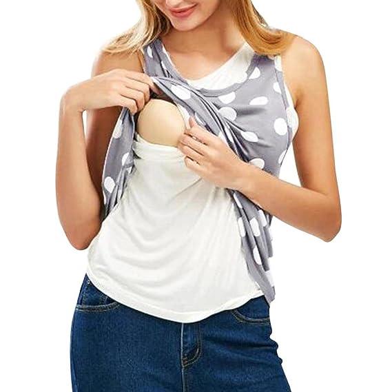 QinMM Camiseta de Punto Mujer Lactancia Maternidad de Doble Capa, Camisa Tops premamá Blusa sin