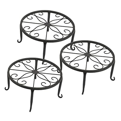 Tosnail 3 Pack Metal Potted Plant Stands Plant Holder (Black) : Garden & Outdoor