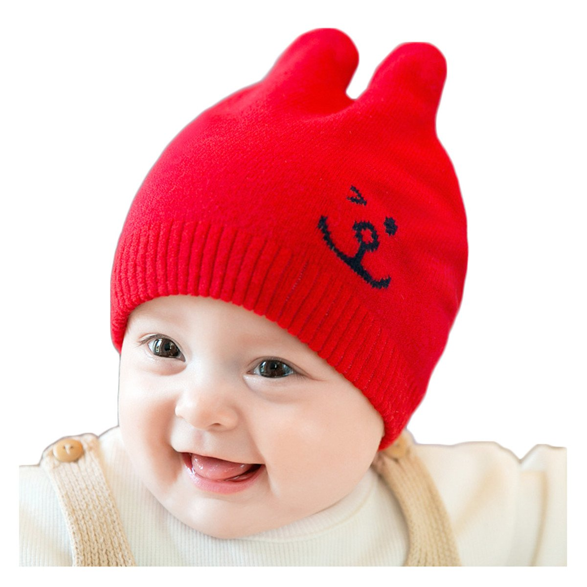 cf93d71202894 Amazon.com  Winter New Korean Style Unisex Beanie Cute Rabbit Ears Warm Cap  Hat for Baby Kids  Clothing