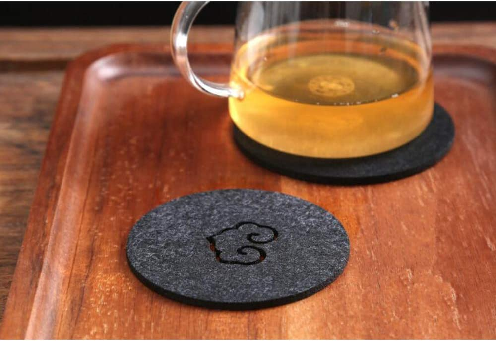 Xinlie sous-Verres en Feutre Premium Dessous De Cadeau Cr/éatif Set De Table Sets de Table Isolant Anti-Br/ûlure sous-Verres de Cadeau Cr/éatif Noir 24 pi/èces Gris