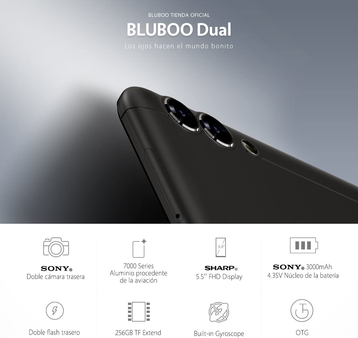 BLUBOO Dual 4G Smartphone Android 6.0 5.5 Inch MTK6737 Quad Core ...
