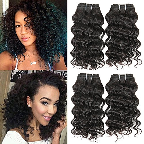 7a Brazilian Deep Wave 4 Bundles 100% Unprocessed Virgin Brazilian Hair 8 Inch Deep Wave Bundles Short Deep Curly Hair 50g/pc Total 200g Natural Color Weft (8 8 8 8)