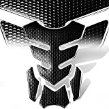 07 crf250r dual exhaust system - 3D 4-Piece Customize Fuel Tank Pad Decal / Sticker Perforated Black w/Chrome Trim