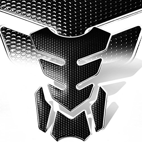 3D 4-Piece Customize Fuel Tank Pad Decal / Sticker Perforated Black w/Chrome - 400 Outlets Premium Drive