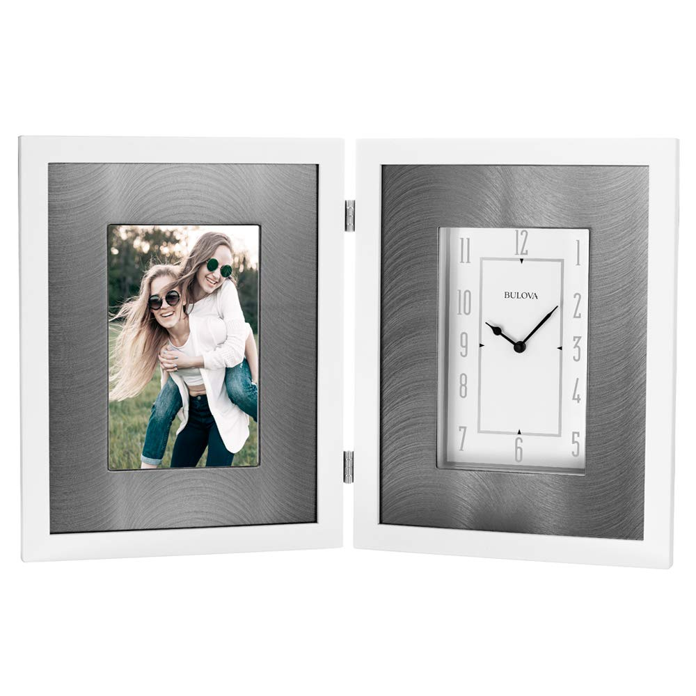 Bulova B1243 Dedication Picture Frame Clock Gloss White