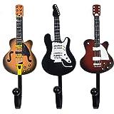 KUNGYO Vintage Guitar Shaped Decorative Hooks Rack Hangers for Hanging Clothes Coats Towels Keys Hats Metal Resin Hooks Wall