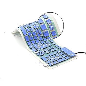 CHIN FAI Teclado de Silicona Plegable Teclado Flexible Teclado de enrollar Teclado USB Teclado de computadora Impermeable Suave Cable de Silicona para PC ...