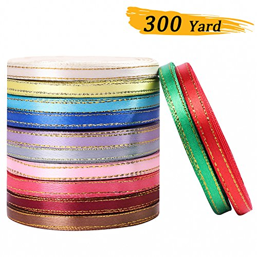 Whaline 300 Yard Double Sided Satin Ribbon with Gold Edge for Gift Package Wrapping, Crafting, Sewing, Wedding Decor, 12 Colors (1/4