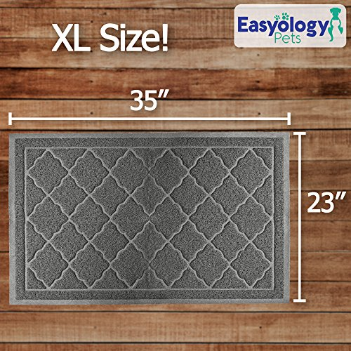 Easyology Extra Large 35'' x 23'' Cat Litter Mat, Traps Messes, Easy Clean, Durable, Non Toxic - LIGHT GREY by Easyology (Image #3)