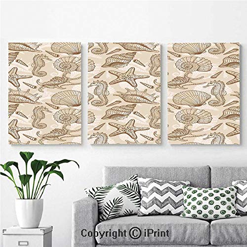 (Modern Gallery Wrapped Canvas Print Exotic Marine Animals in Retro Style Ilustration Shells Starfish Seahorse Contemporary Deco Decorative 3 Panels Pictures on Canvas Wall Art Ready to Hang for)