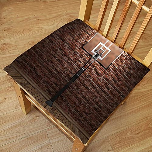 Nalahome Set of 2 Waterproof Cozy Seat Protector Cushion Sports Decor Old Brick Wall and Basketball Hoop Rim Indoor Training Exercising Stadium Picture Print Brown Printing Size 22x22inch