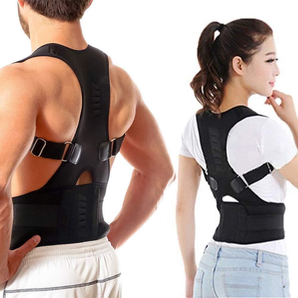Aptoco Back Brace Adjustable Back Shoulder Support Brace for Posture Correction, Magnetic Therapy Upper Back Lumbar Support Size XXL