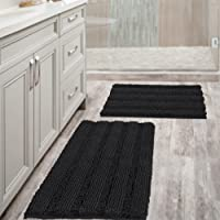 Chenille Bath Mat Non Slip Bath Mat Set for Bathroom Extra Thick Soft Striped Bath Rug Water Absorbent Shag Carpet for…