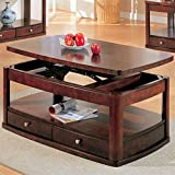 Coaster Evans Contemporary Rectangular Lift Top Cocktail Table in Cherry For Sale