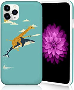 Cute Phone Case for iPhone 11 Pro Max, Raised Edges Scratch Resistant Lightweight Flexible Soft TPU Protective Cover for iPhone 11 Pro Max - Giraffe and Shark