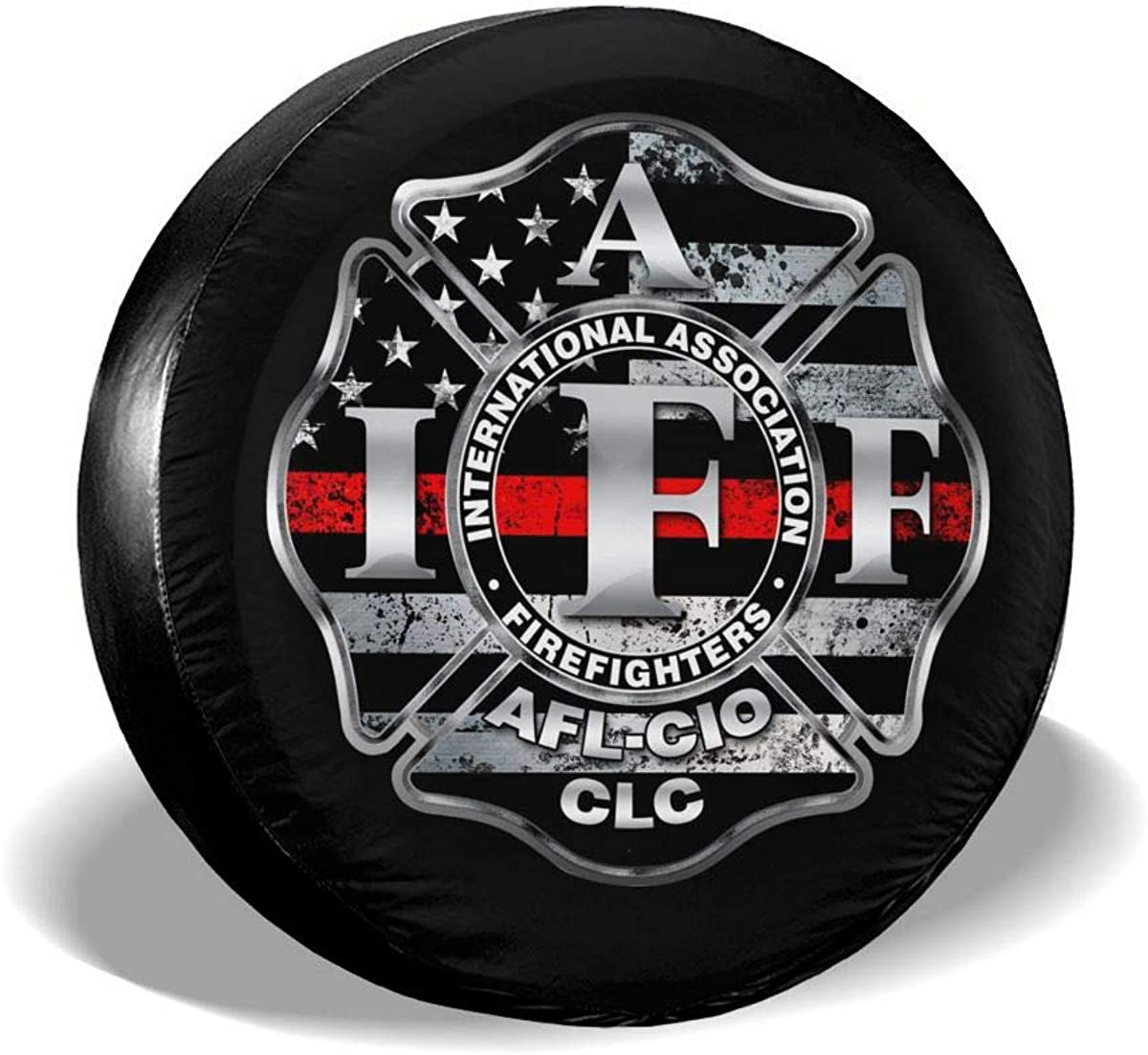JSOY GSTW IAFF Fire Fighters Red Blue Line Spare Wheel Tire Covers Travel Trailer Accessories 14,15,16,17 Inch