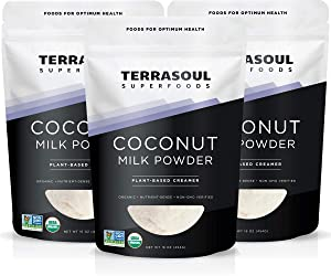 Terrasoul Superfoods Organic Coconut Milk Powder, 3 Lbs (3 Pack) - Plant-Based Creamer | Keto Friendly