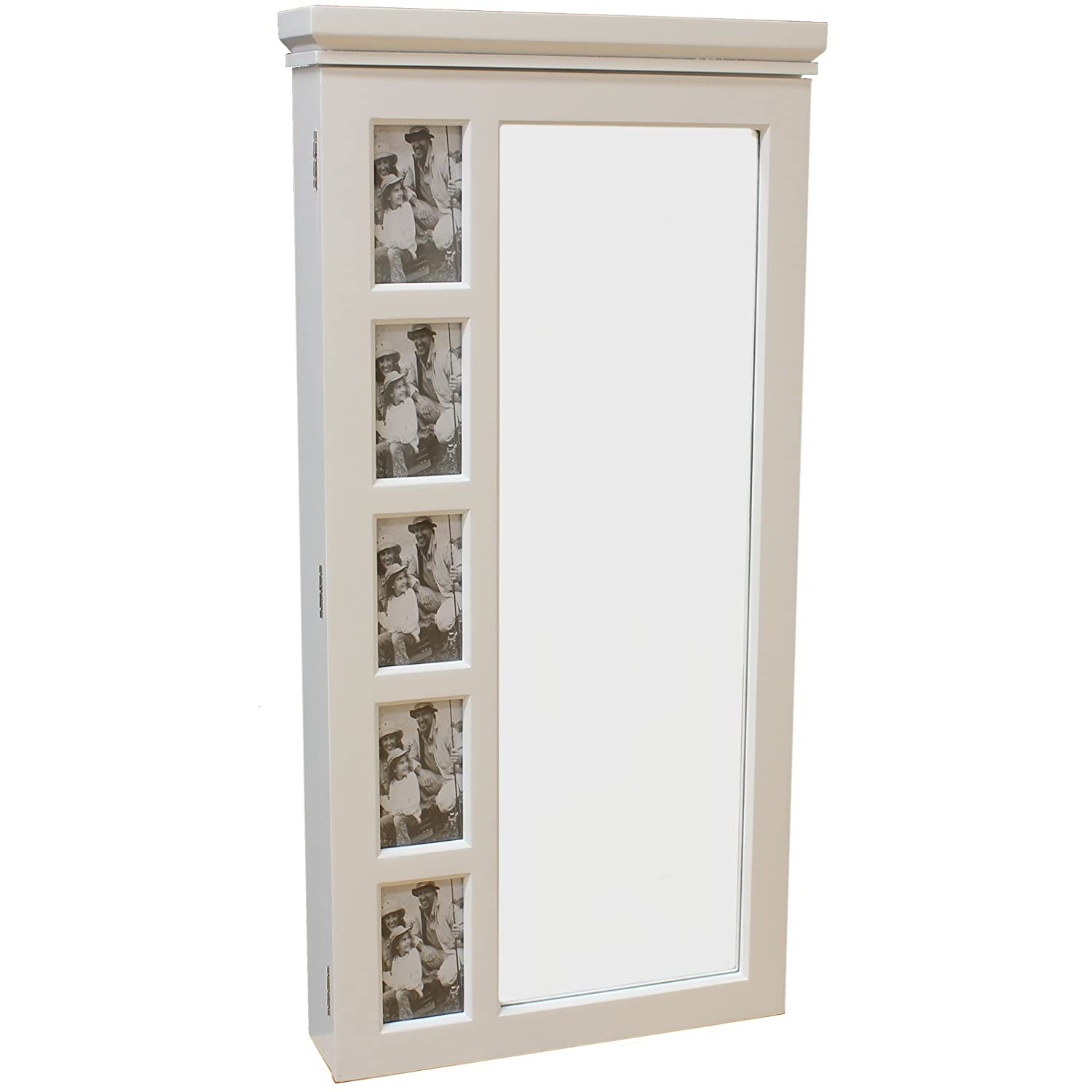 Hartleys White Wall Mounted Mirror & Jewellery Organiser Cabinet ...