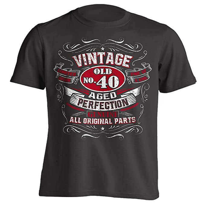 Vintage 40th Birthday Gift Shirt For Men Black Small