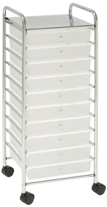 Seville Classics Large 10-Drawer Organizer Cart White