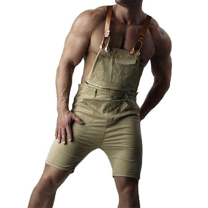 e897e3f2586f Aooword Men s Retro Jean Shorts Jumpsuit Romper Cargo Bib Shorts Khaki S