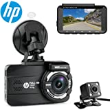 """HP Dual Channel Lens Dash Cam for car Full HD 1080P Front & Rear Built-in GPS DVR Dashboard Camera Recorder,3.0"""",Sony Sensor,Night Vision,WDR, Loop Recording, Parking mode"""