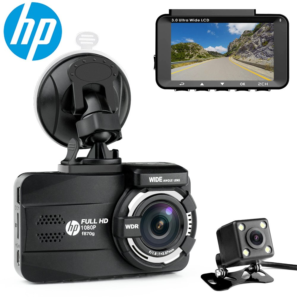 HP Dual Channel Lens Dash Cam for car Full HD 1080P Front & Rear Built-in GPS DVR Dashboard Camera Recorder,3.0'',Sony Sensor,Night Vision,WDR, Loop Recording, Parking mode by HP