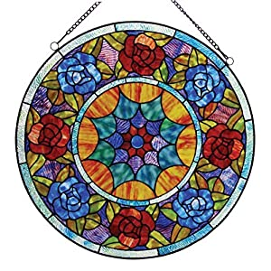 "Chloe Lighting Tiffany-Glass Roses Window Panel, 22"""