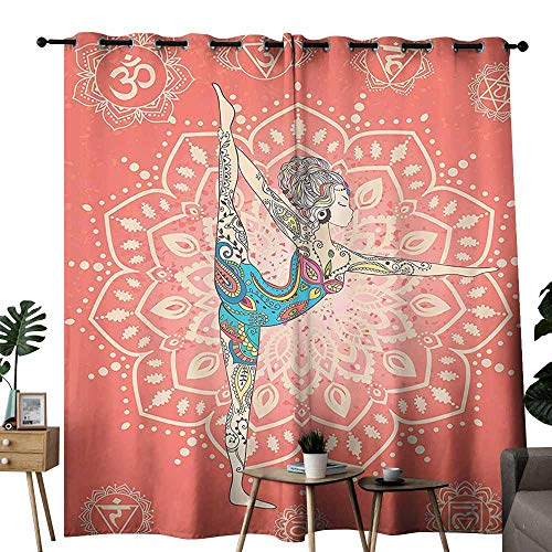 (duommhome Yoga Decor Collection Blackout Curtain Yoga Geometric Element Ornament Background Kaleidoscope Medallion Yoga India Picture Noise Reduction soundproof Curtain W96 xL84 Coral Blue Pink)