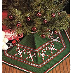 Christmas Tree Skirt - One Crochet Pattern with Embroidered Cross Stitch - Marge Wild
