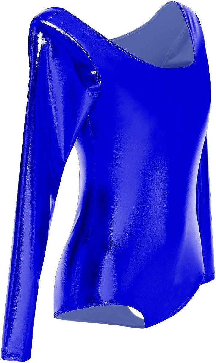OwlFay M/ädchen Ballettanzug Bodysuit Langarm Ballett Leotard Tanz Gymnastik Trikot Einteilig Metallic Laser Wetlook Body Clubwear Disco Tanzsport Dancewear Blau XS