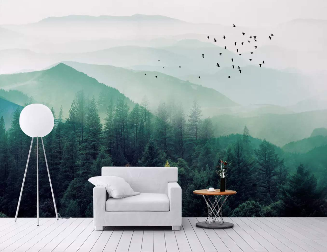 Nature Jungle Wall Mural Photo Wallpaper Wall Decor Trees Misty Forest Wall Mural Landscape Mural Wallpaper Wall Decals