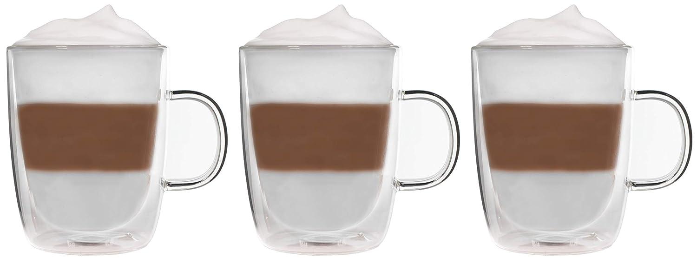 3X 360ml doppelwandige Tassen//Thermotassen//Glastassen//Teetassen//Kaffeetassen mit Schwebeeffekt Snobbies by Feelino