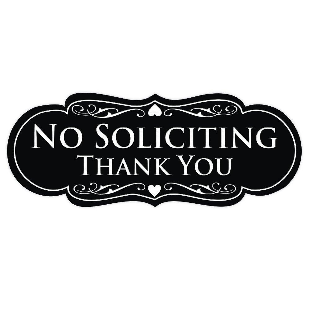 All Quality Designer NO SOLICITING Thank You Sign - Black Medium